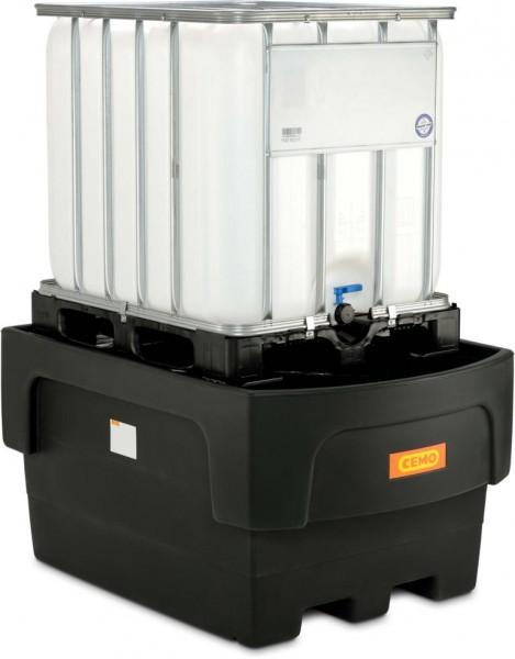 IBC-Auffangwanne aus PE mit Stützkreuz und Abfüllvorsatz für 1 1000-Liter-IBC
